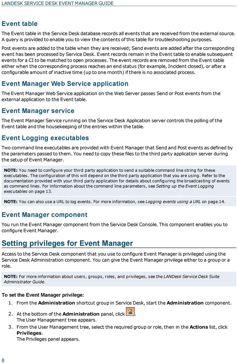Post events are added to the table when they are received; Send events are added after the corresponding event has been processed by Service Desk.