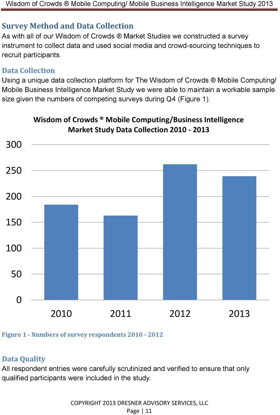 Data Collection Using a unique data collection platform for The Wisdom of Crowds Mobile Computing/ Mobile Business Intelligence Market Study we were able to maintain a workable sample size given the
