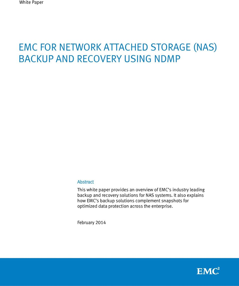 recovery solutions for NAS systems.