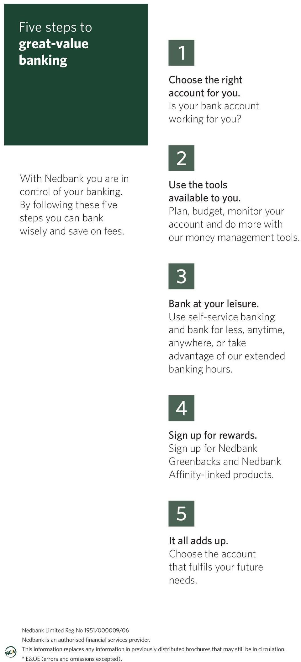 Bank at your leisure. Use self-service banking and bank for less, anytime, anywhere, or take advantage of our extended banking hours. Sign up for rewards.