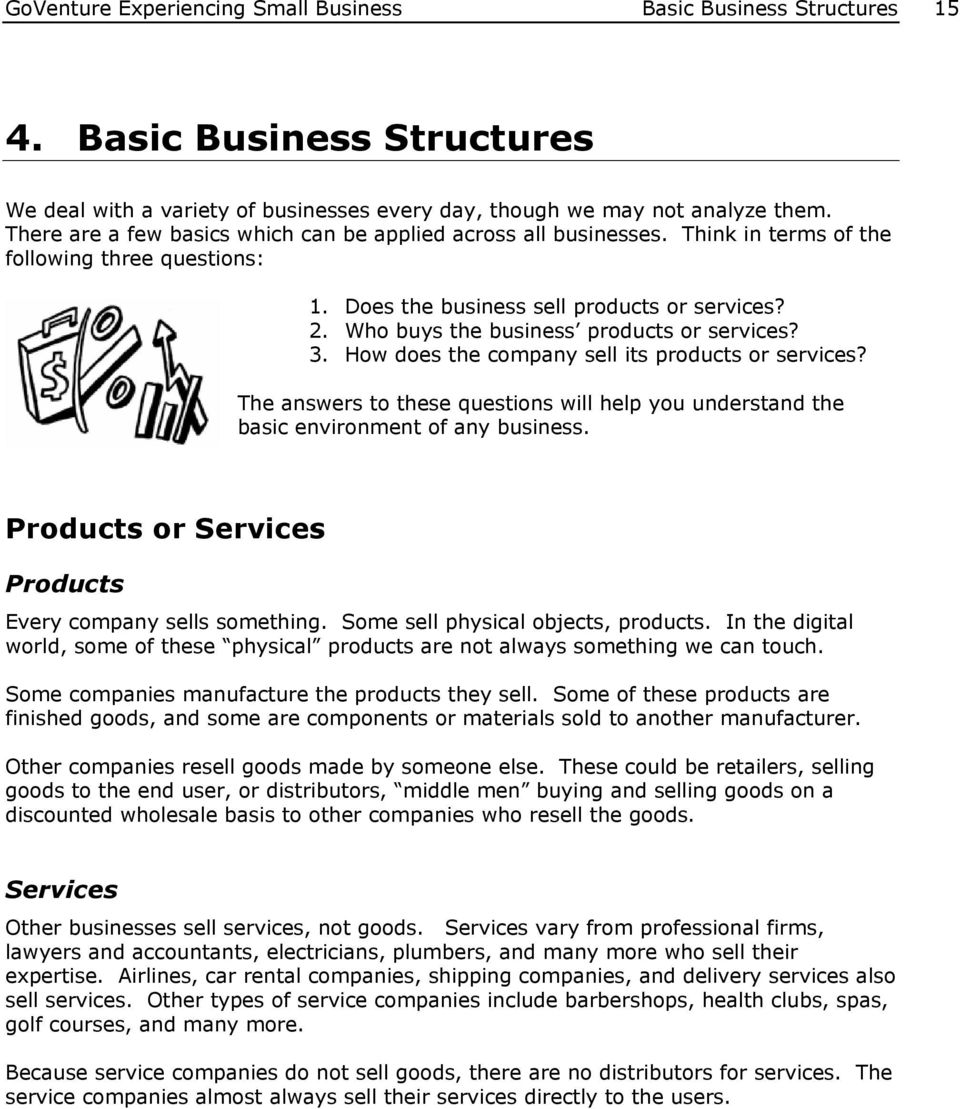 Who buys the business products or services? 3. How does the company sell its products or services? The answers to these questions will help you understand the basic environment of any business.