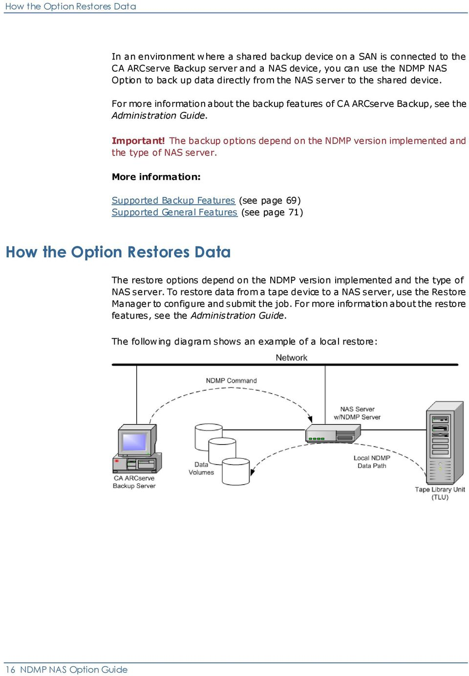 The backup options depend on the NDMP version implemented and the type of NAS server.