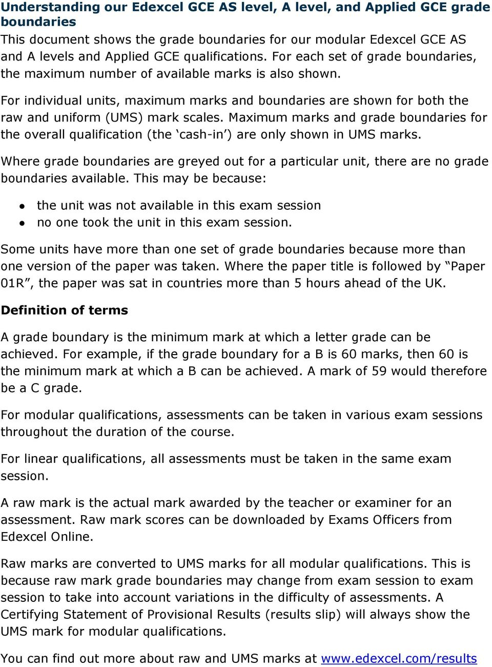 Maximum marks and grade boundaries for the overall qualification (the cash-in ) are only shown in UMS marks.