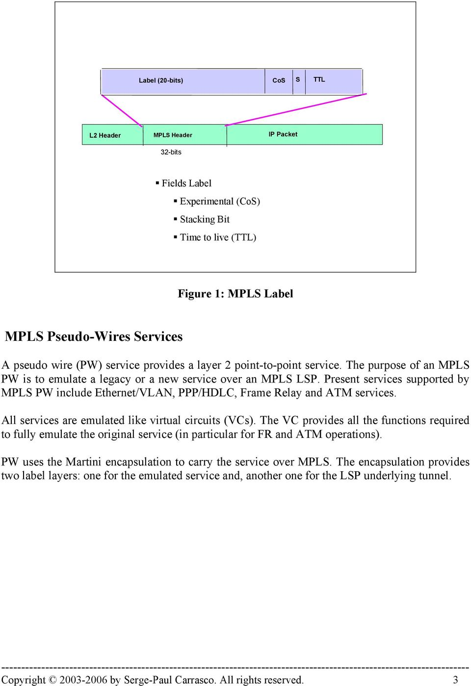 Present services supported by MPLS PW include Ethernet/VLAN, PPP/HDLC, Frame Relay and ATM services. All services are emulated like virtual circuits (VCs).