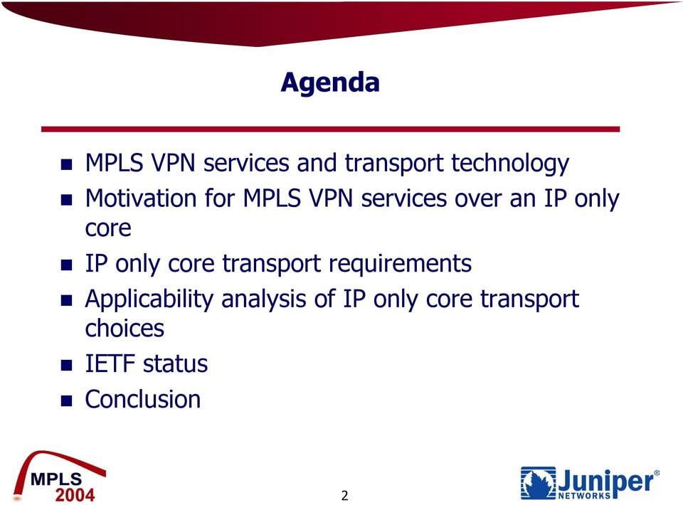 IP only core transport requirements Applicability