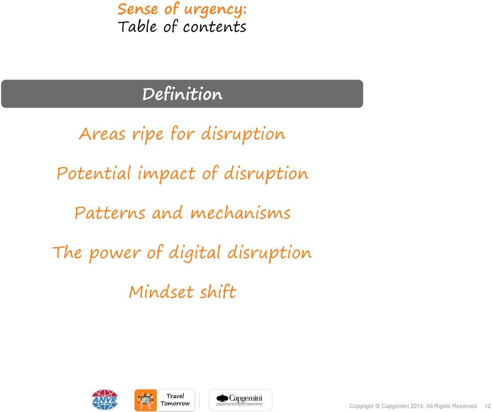 Potential impact of disruption Patterns and