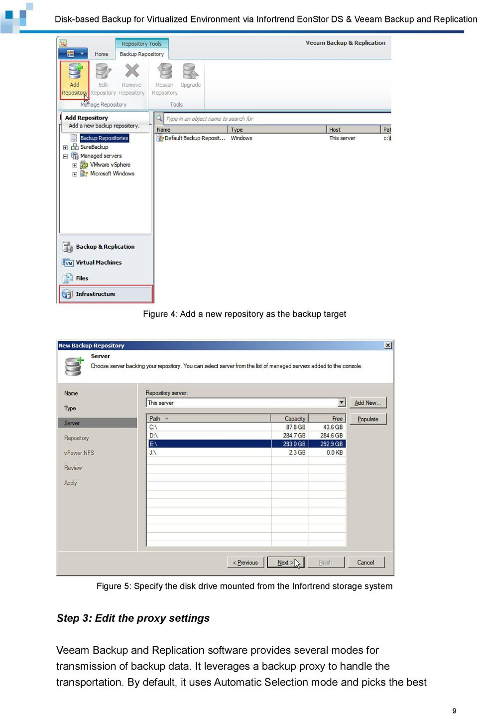 Replication software provides several modes for transmission of backup data.
