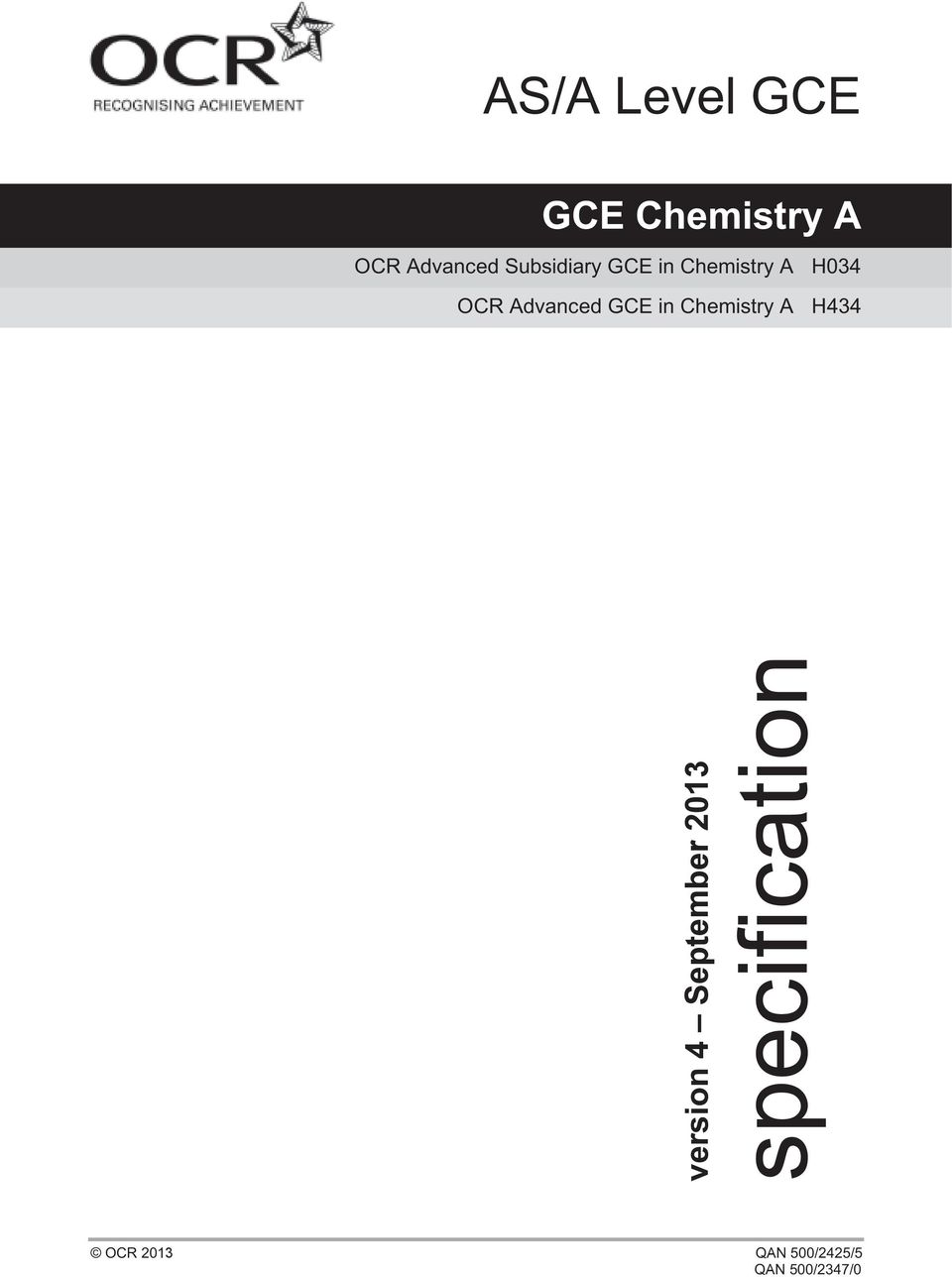 H034 OCR Advanced GCE in Chemistry A H434
