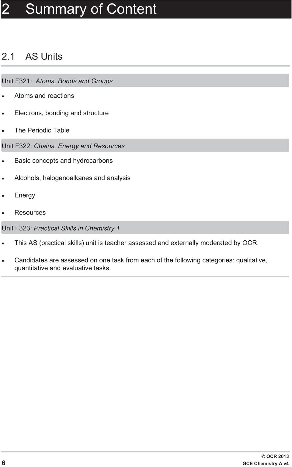 Chains, Energy and Resources Basic concepts and hydrocarbons Alcohols, halogenoalkanes and analysis Energy Resources Unit F323: