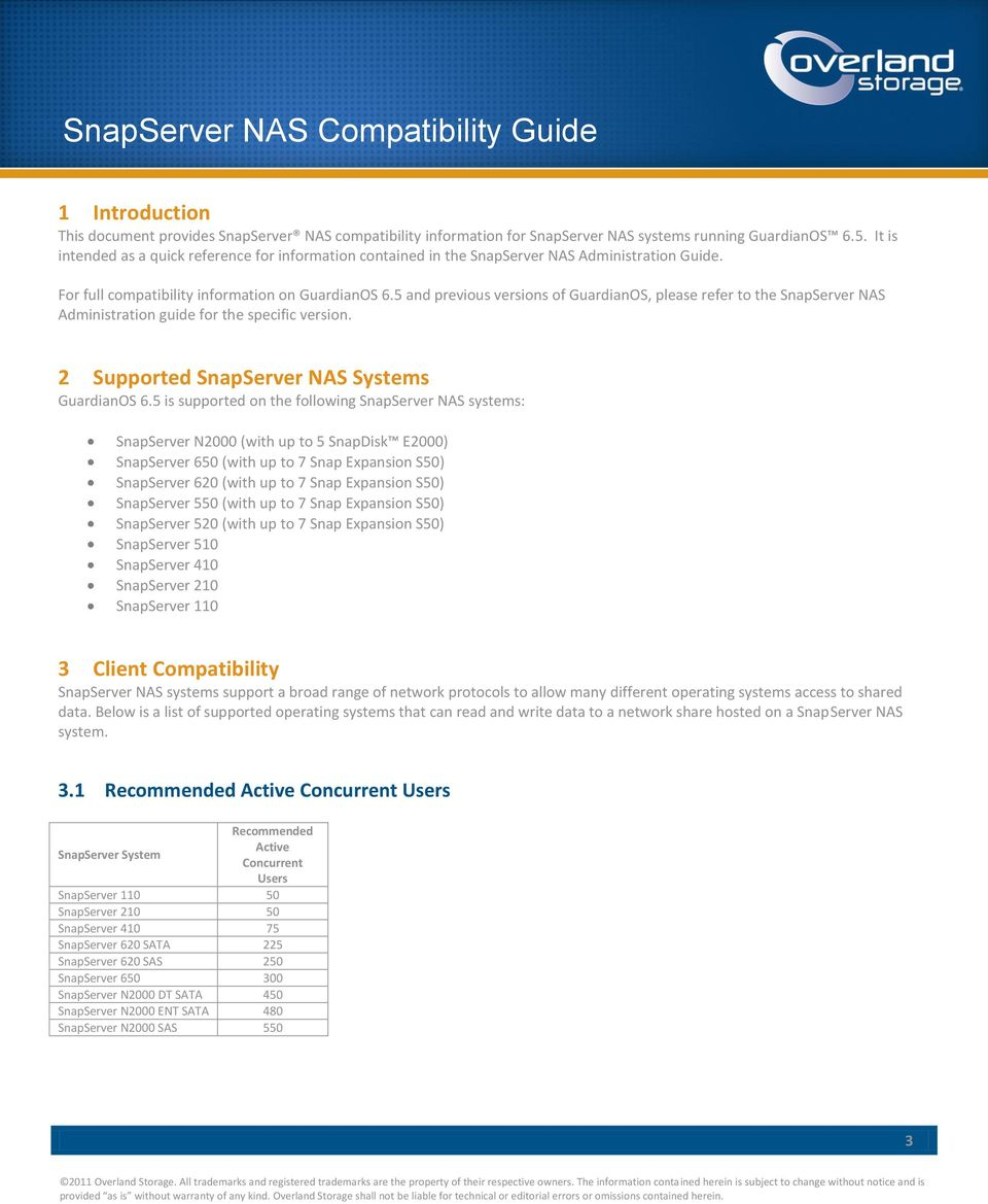 5 and previous versions of GuardianOS, please refer to the SnapServer NAS Administration guide for the specific version. 2 Supported SnapServer NAS Systems GuardianOS 6.