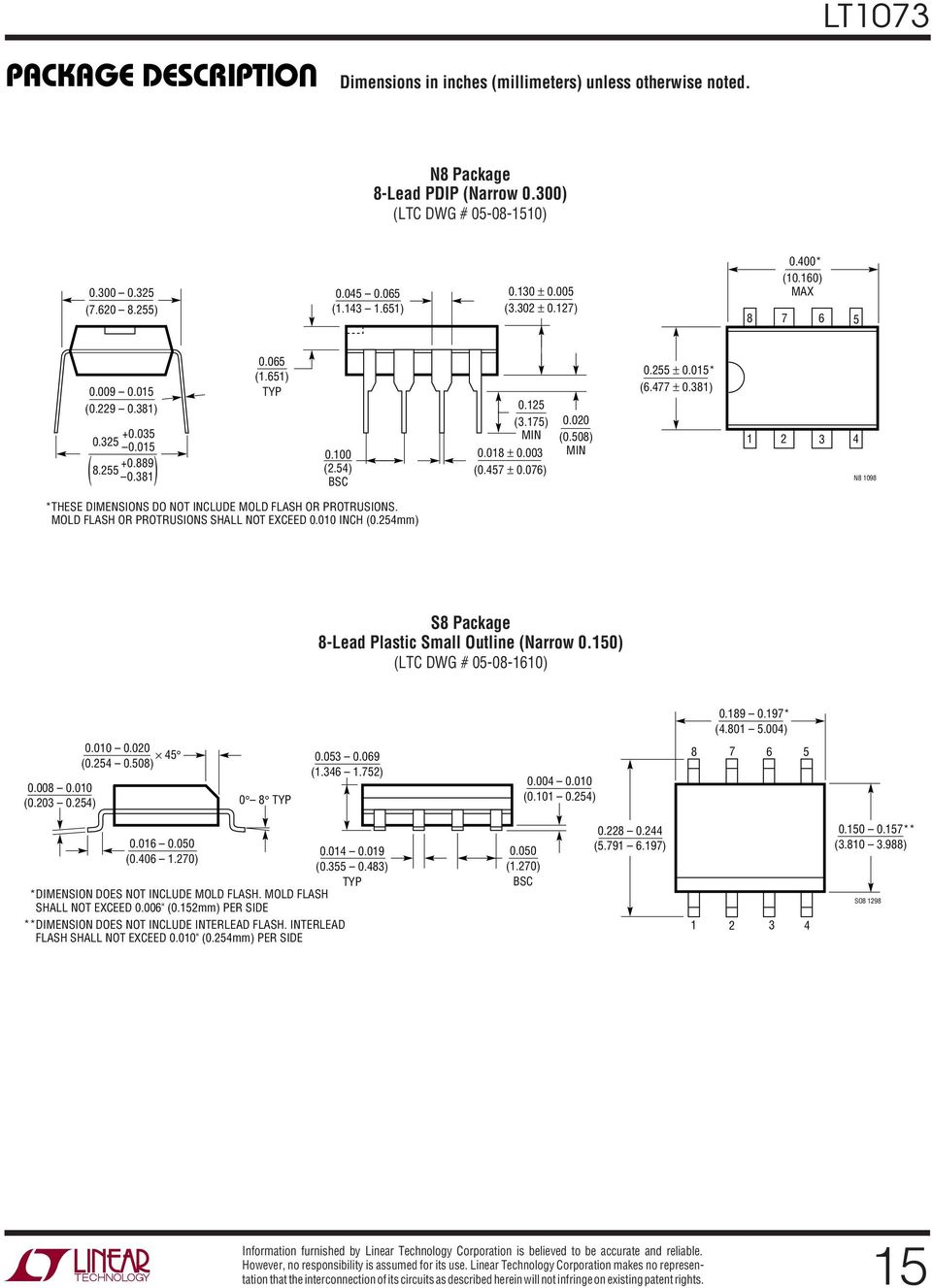54) BSC *THESE DIMENSIONS DO NOT INCLDE MOLD FLASH OR PROTRSIONS. MOLD FLASH OR PROTRSIONS SHALL NOT EXCEED 0.010 INCH (0.254mm) 0.255 ± 0.015* (6.477 ± 0.381) 0.125 (3.175) MIN 0.020 (0.