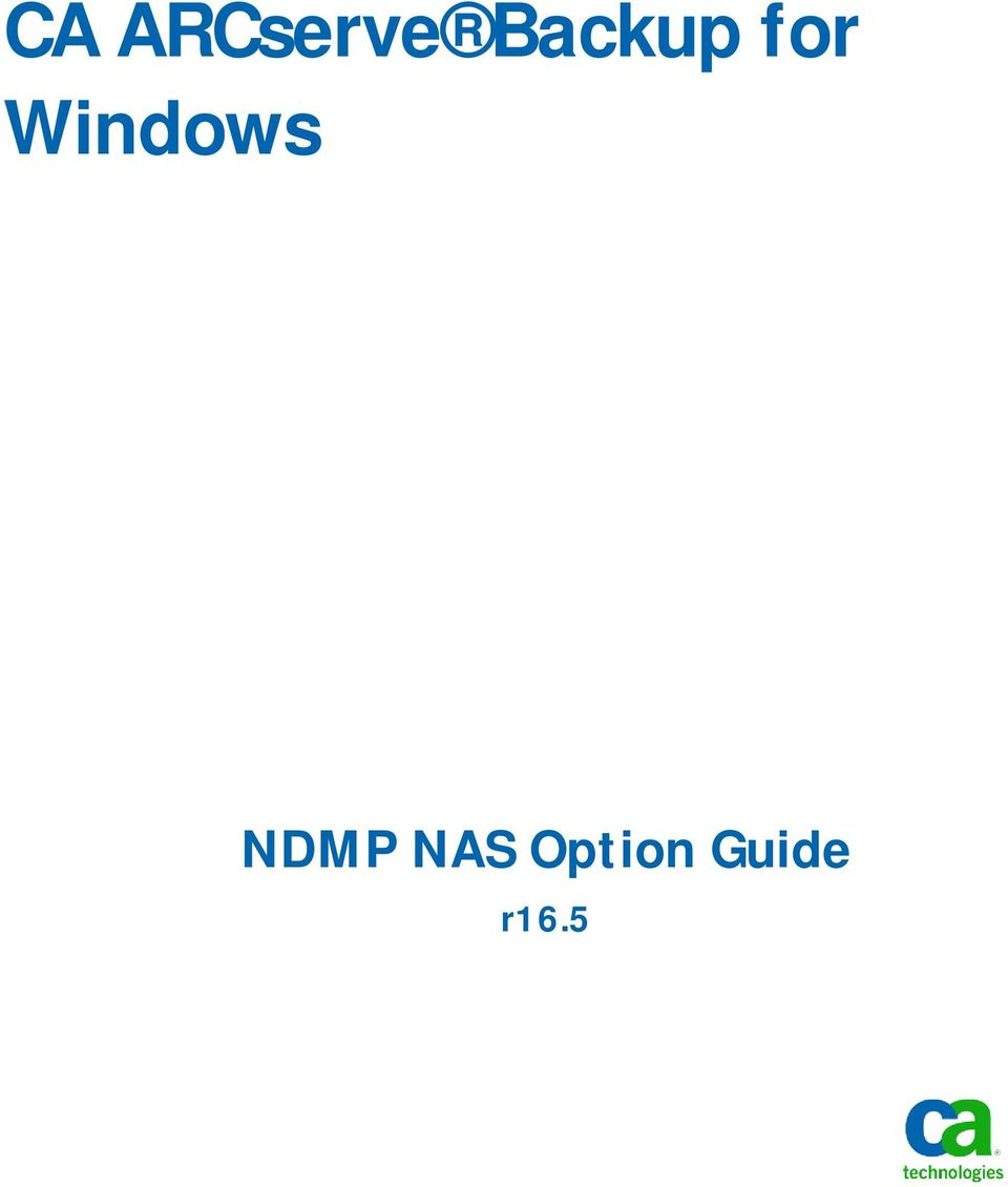 Windows NDMP