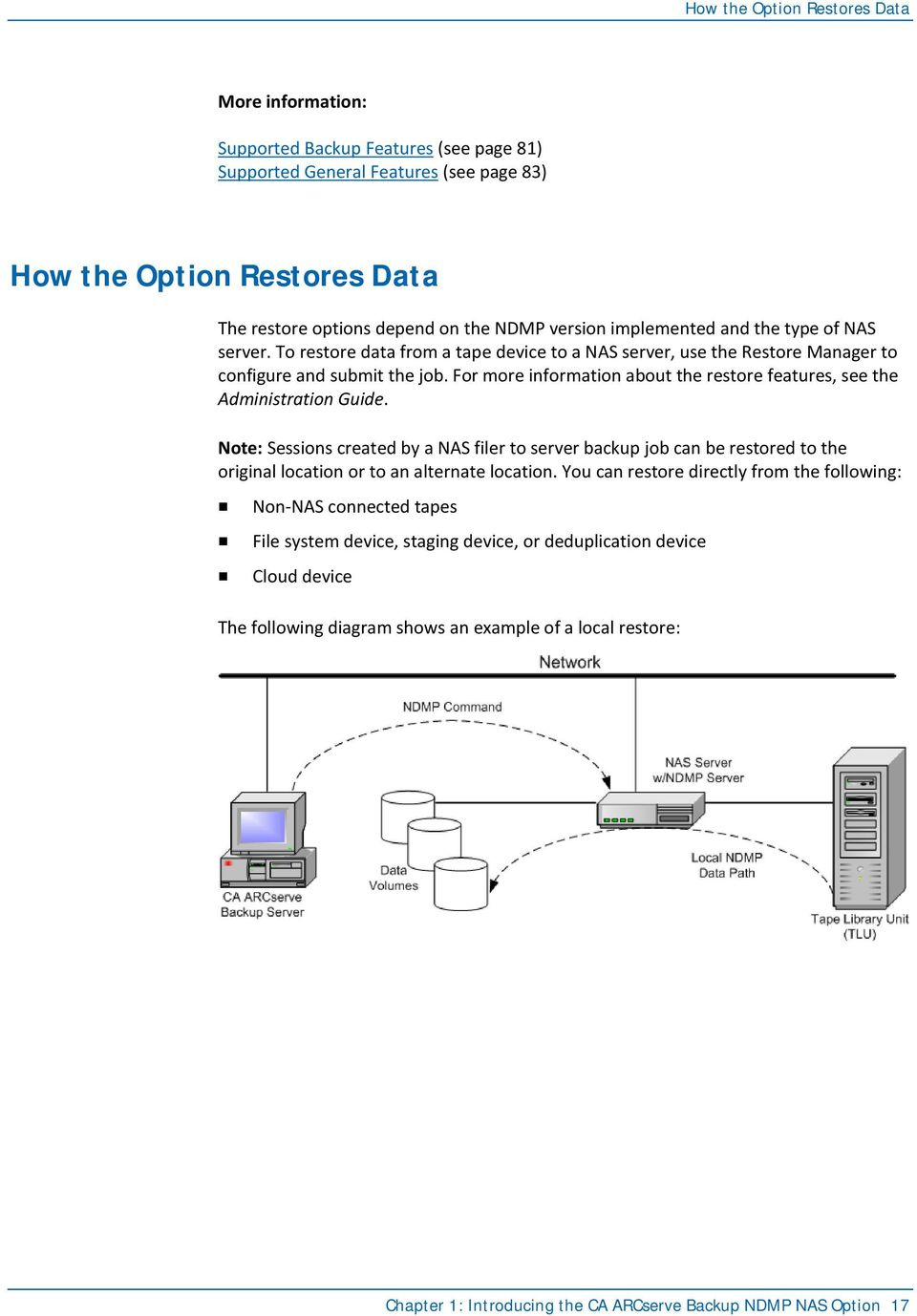 For more information about the restore features, see the Administration Guide.