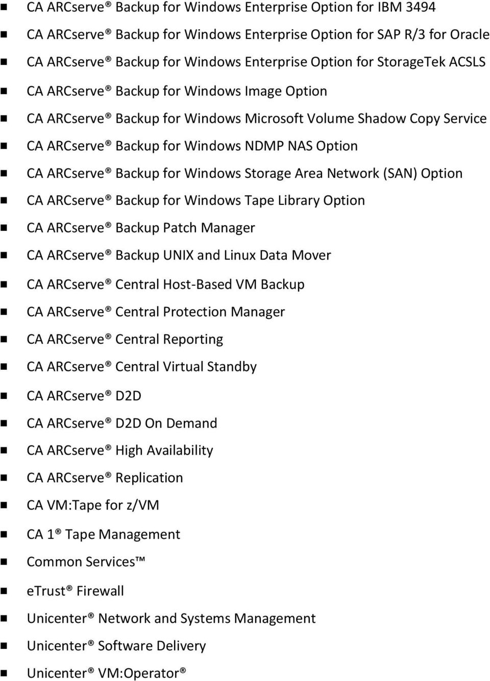 Storage Area Network (SAN) Option CA ARCserve Backup for Windows Tape Library Option CA ARCserve Backup Patch Manager CA ARCserve Backup UNIX and Linux Data Mover CA ARCserve Central Host-Based VM