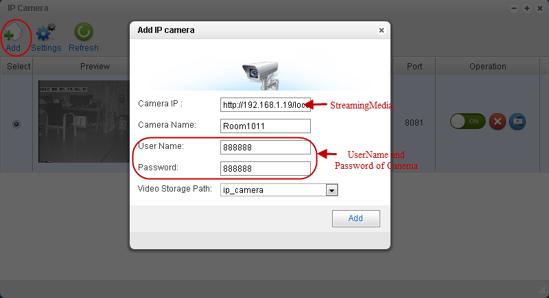 6.3.2 IP Camera 1. Add IP Camera Plug the IP Camera into the network. Enter Applications-> Surveillance Station-> IP Camera. Click Add to enter Add IP Camera page.