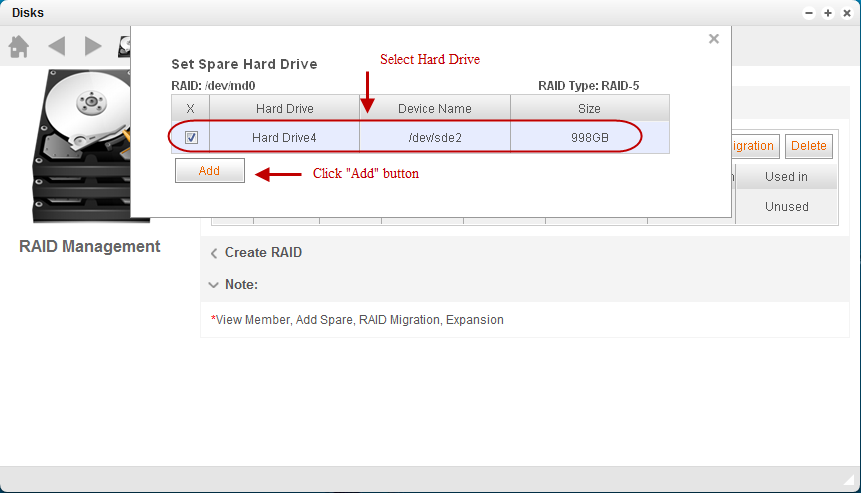 Select the spare disk, and click Add button.