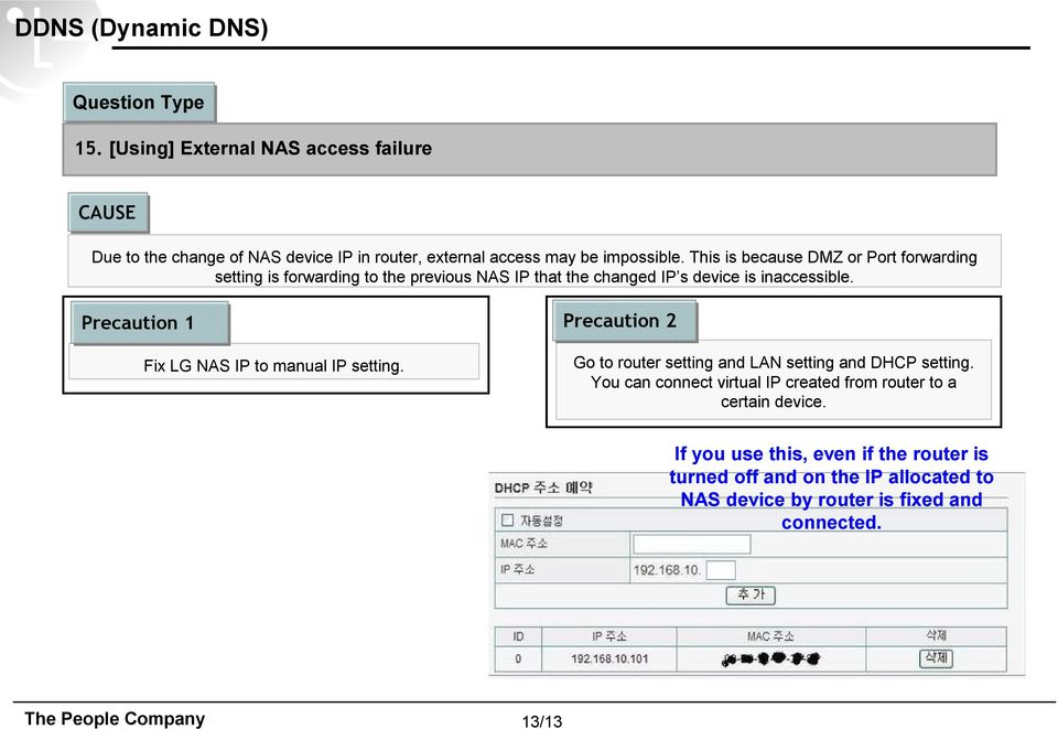 This is because DMZ or Port forwarding setting is forwarding to the previous NAS IP that the changed IP s device is inaccessible.
