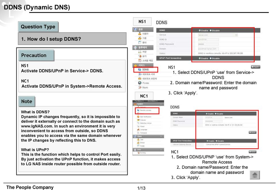 In such an environment it is very inconvenient to access from outside, so DDNS enables you to access via the same domain whenever the IP changes by reflecting this to DNS. What is UPnP?