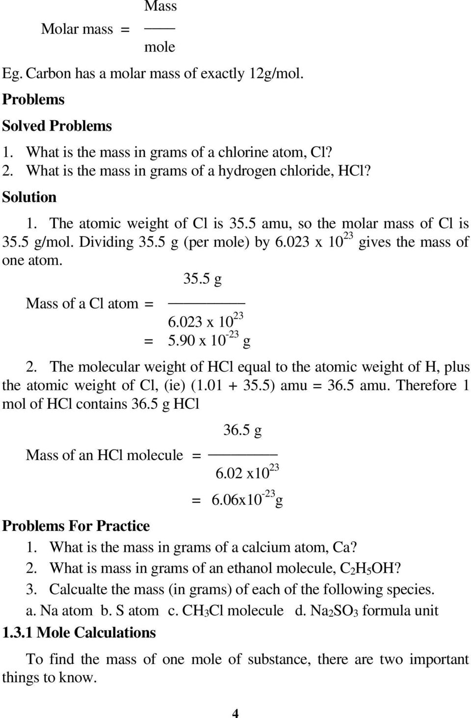 023 X 10 23 Gives The Mass Of One Atom 355 G Mass Of A Chemistry