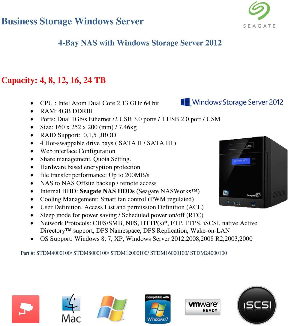 46kg RAID Support: 0,1,5,JBOD 4 Hot-swappable drive bays ( SATA II / SATA III ) Web interface Configuration Share management, Quota Setting.