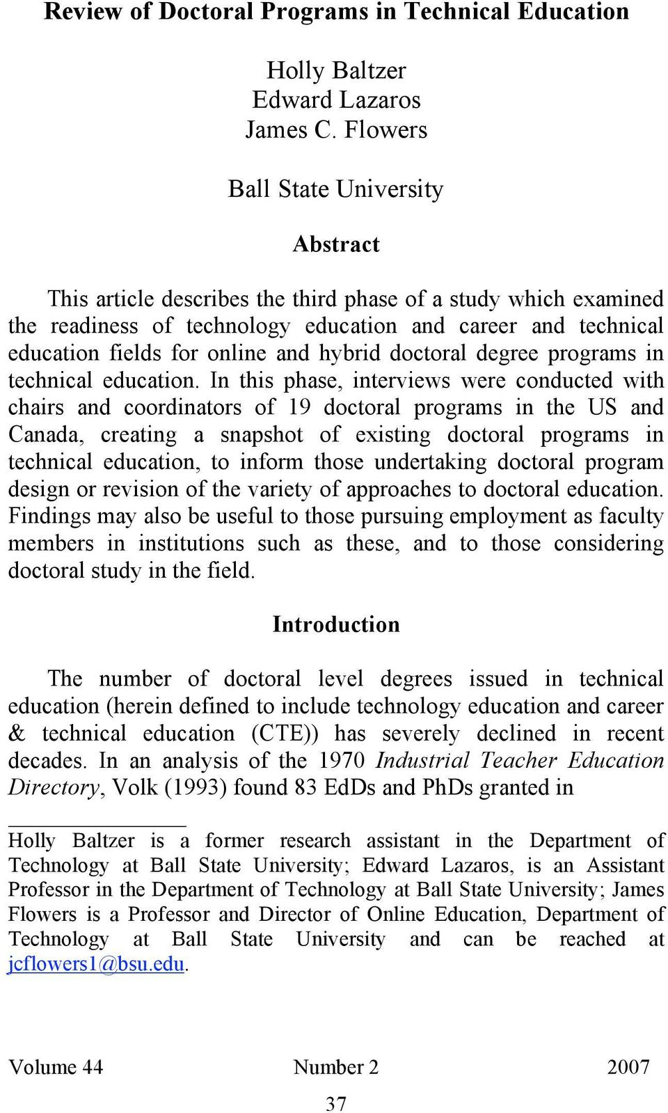 hybrid doctoral degree programs in technical education.