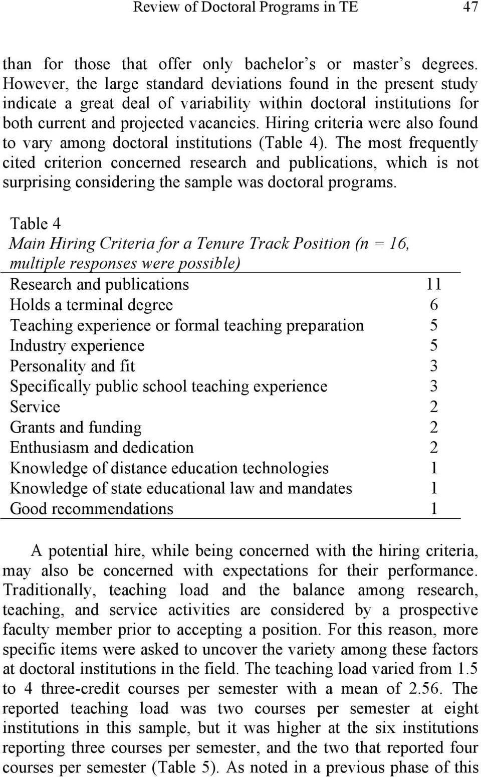 Hiring criteria were also found to vary among doctoral institutions (Table 4).