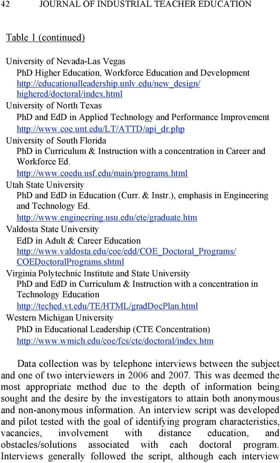 php University of South Florida PhD in Curriculum & Instruction with a concentration in Career and Workforce Ed. http://www.coedu.usf.edu/main/programs.
