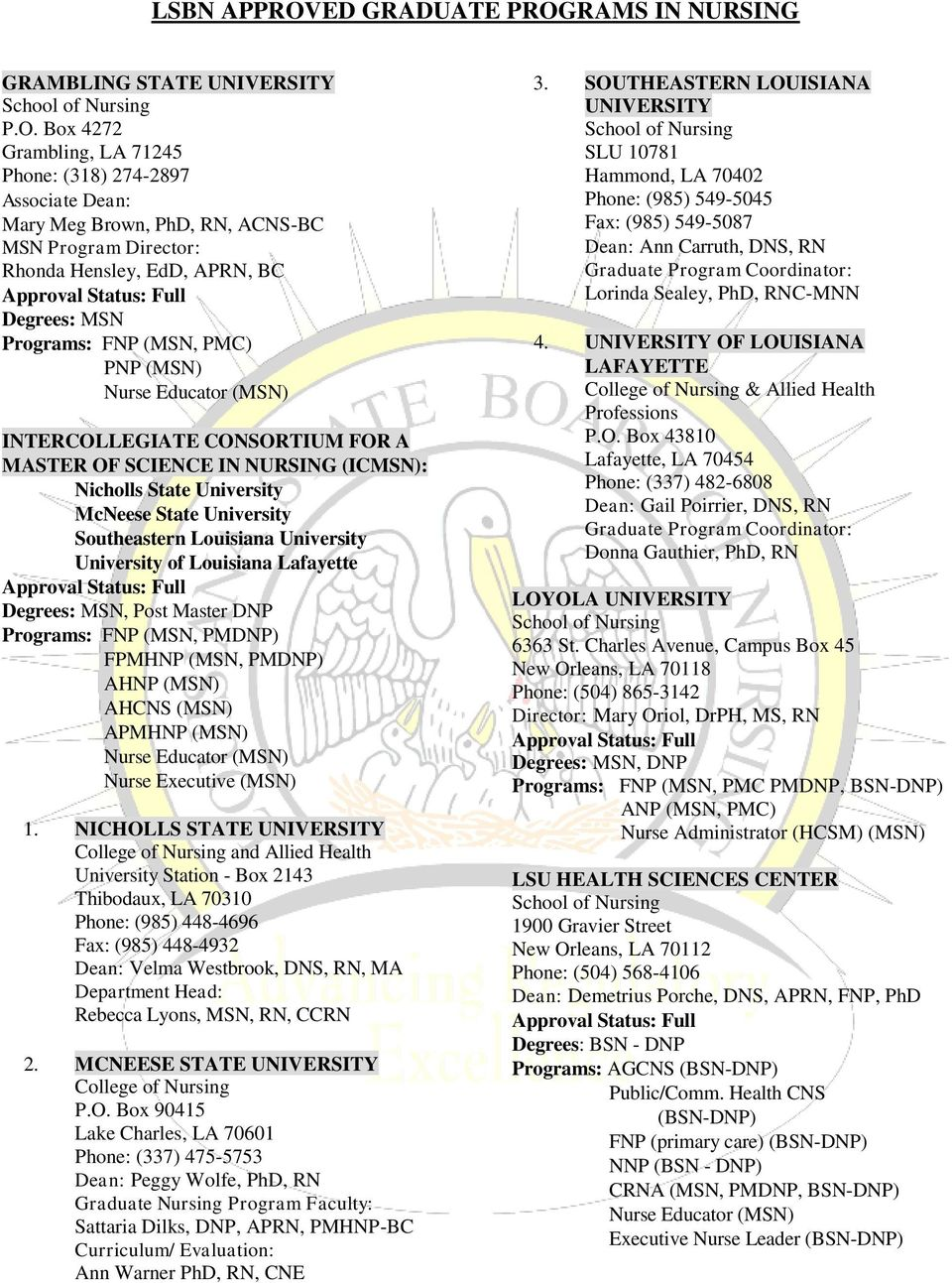 RAMS IN NURSING GRAMBLING STATE UNIVERSITY P.O.
