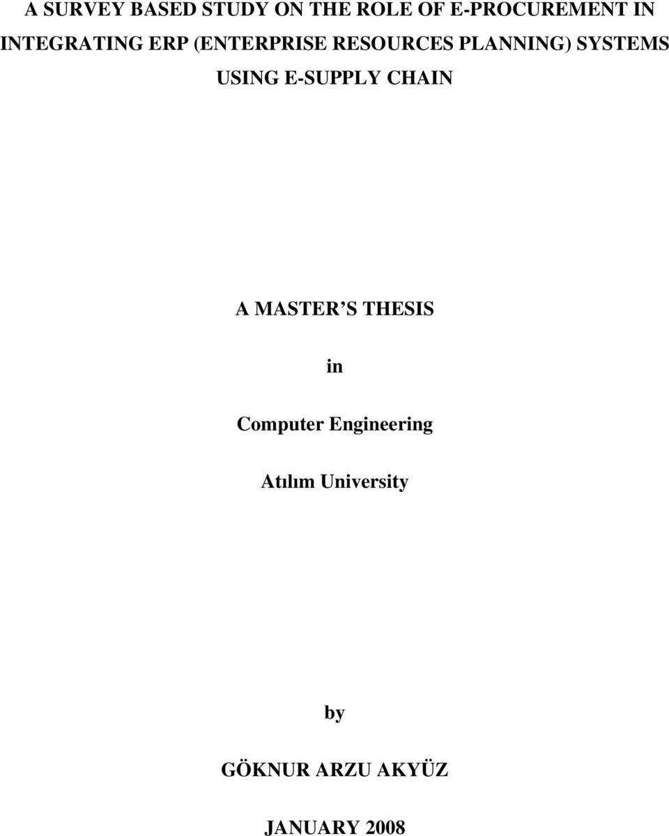 USING E-SUPPLY CHAIN A MASTER S THESIS in Computer