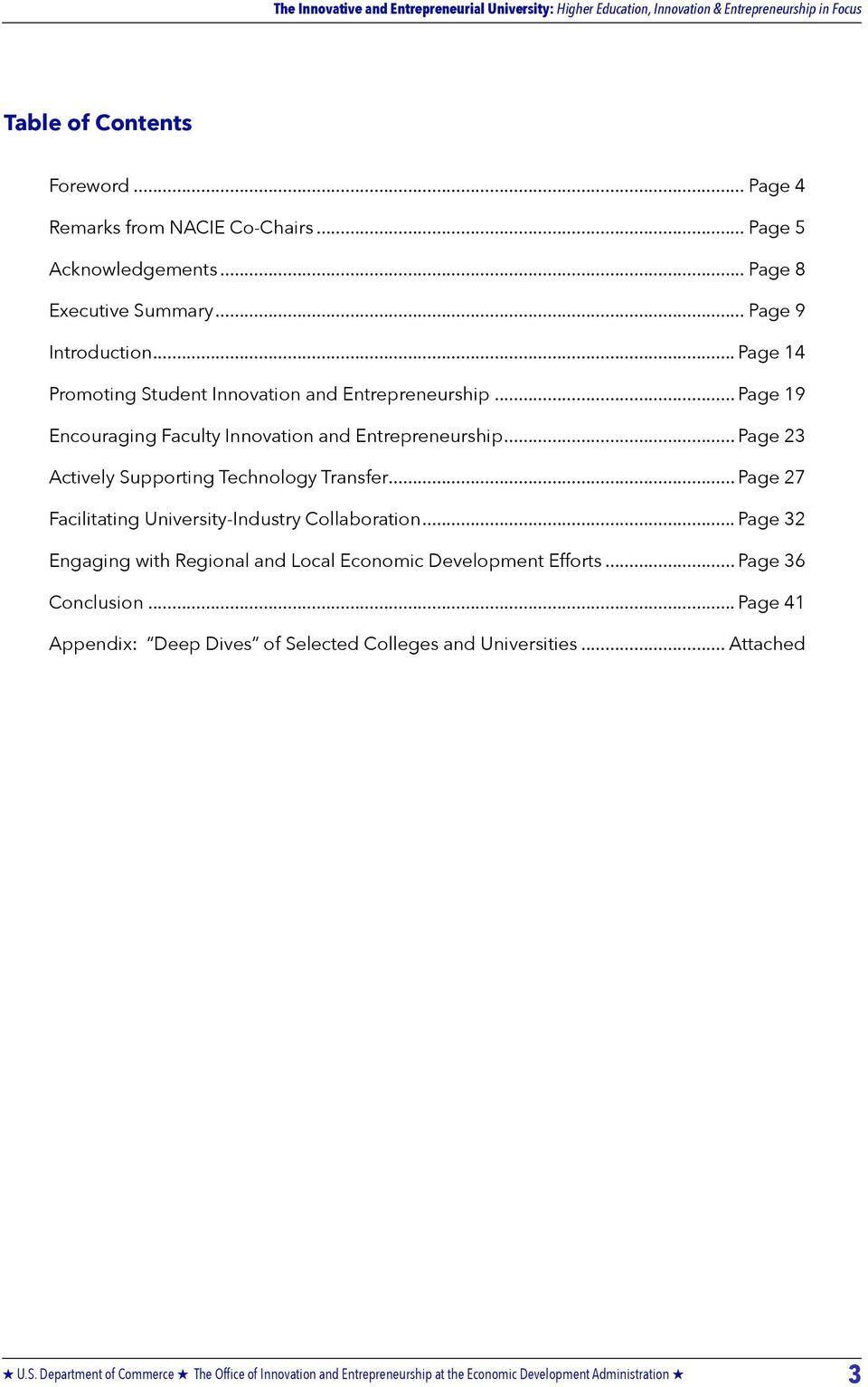 .. Page 19 Encouraging Faculty Innovation and Entrepreneurship... Page 23 Actively Supporting Technology Transfer.