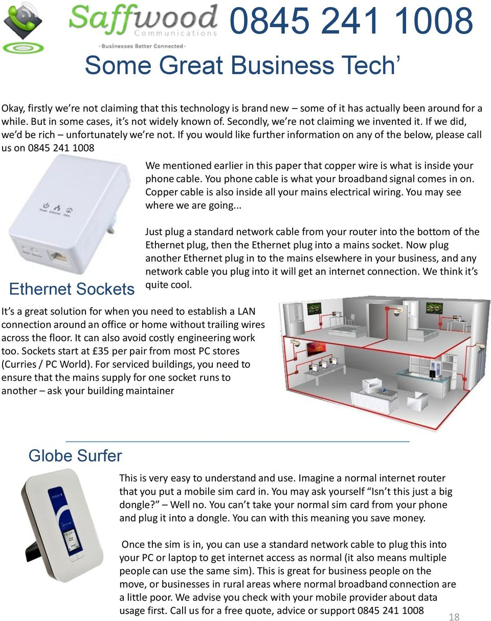 If you would like further information on any of the below, please call us on 0845 241 1008 Ethernet Sockets It s a great solution for when you need to establish a LAN connection around an office or