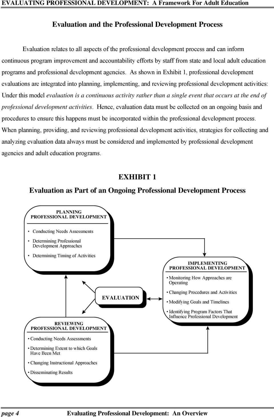 As shown in Exhibit 1, professional development evaluations are integrated into planning, implementing, and reviewing professional development activities: Under this model evaluation is a continuous