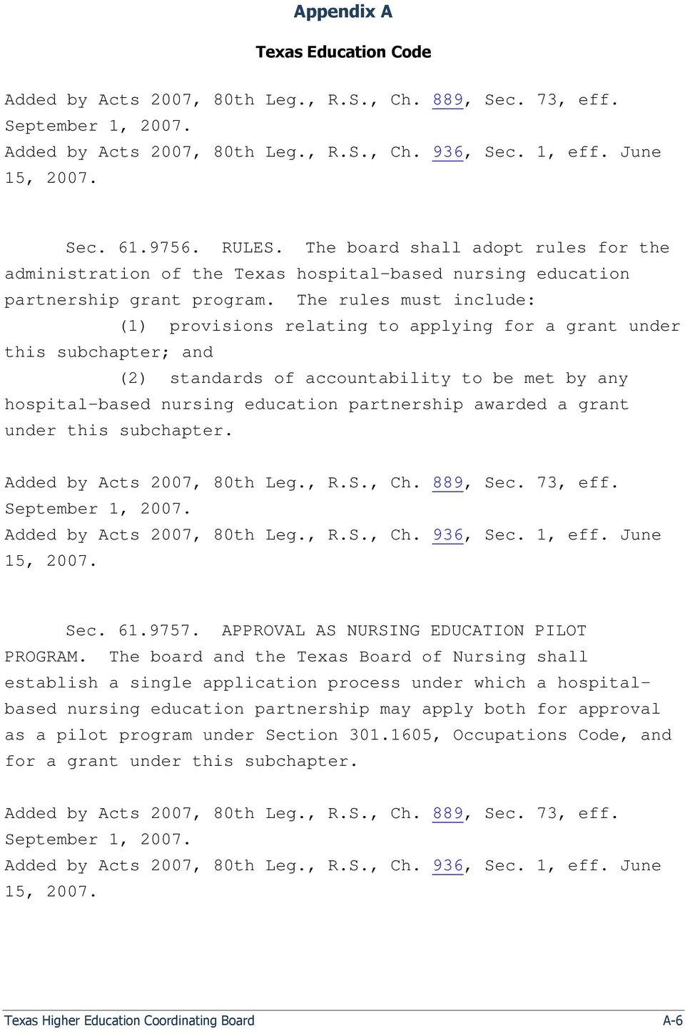 The rules must include: (1) provisions relating to applying for a grant under this subchapter; and (2) standards of accountability to be met by any hospital-based nursing education partnership