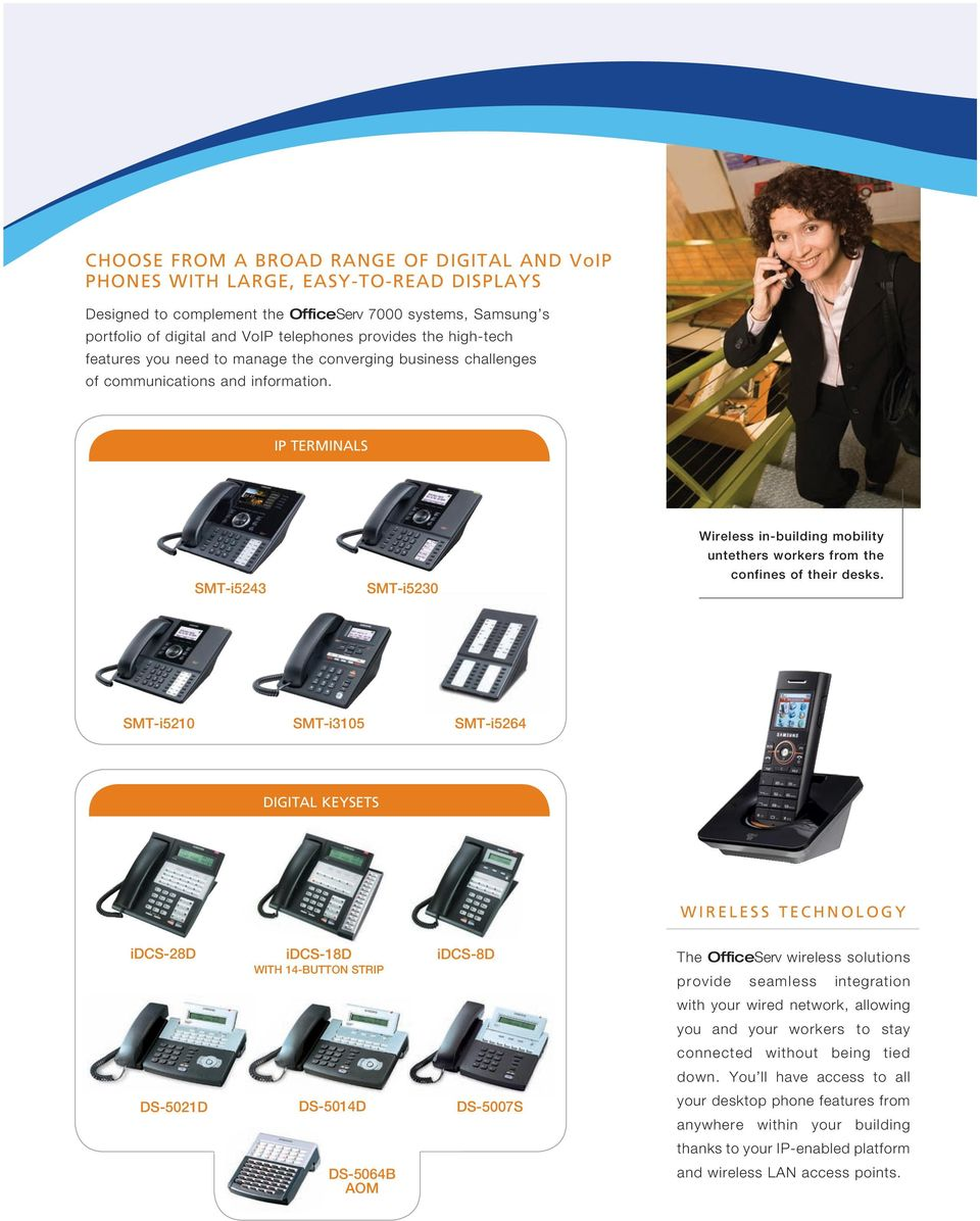 IP TERMINALS SMT-i5243 SMT-i5230 Wireless in-building mobility untethers workers from the confines of their desks.