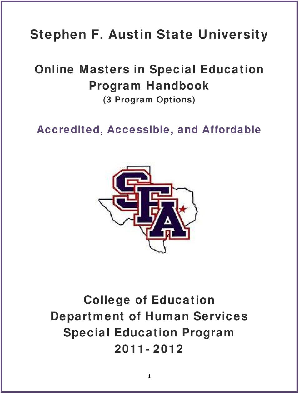 Education Program Handbook (3 Program Options) Accredited,