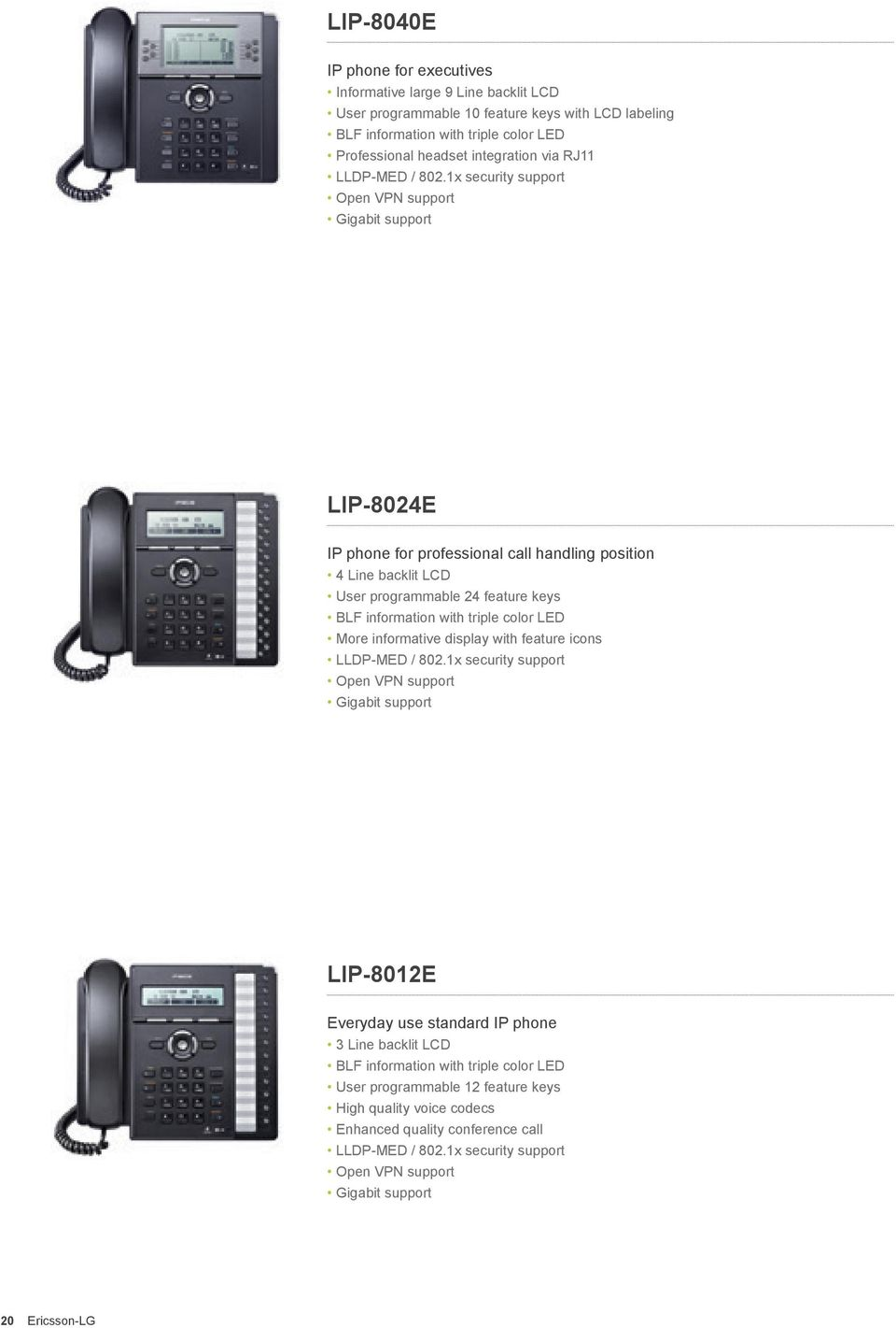 1x security support Open VPN support Gigabit support LIP-8024E IP phone for professional call handling position 4 Line backlit LCD User programmable 24 feature keys BLF information with triple color
