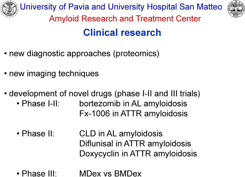 I-II II and III trials) Phase I-II: bortezomib in AL amyloidosis Fx-1006 in ATTR amyloidosis Phase II: