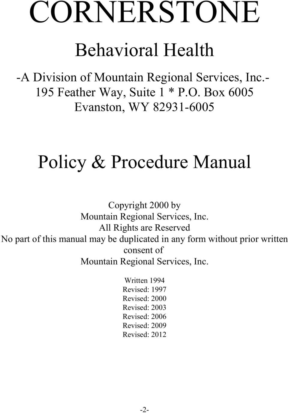 Mountain Regional Services, Inc.