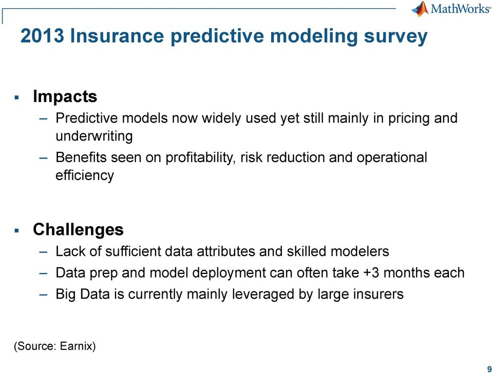 Challenges Lack of sufficient data attributes and skilled modelers Data prep and model deployment can