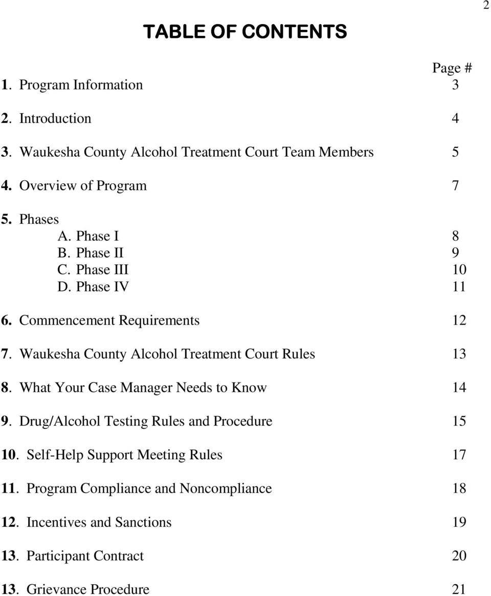 Waukesha County Alcohol Treatment Court Rules 13 8. What Your Case Manager Needs to Know 14 9.