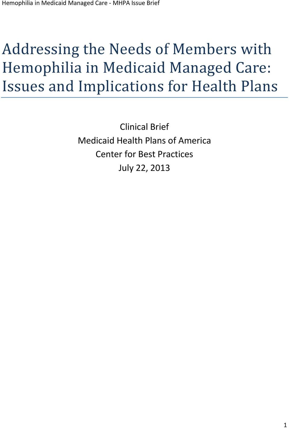 Health Plans Clinical Brief Medicaid Health Plans