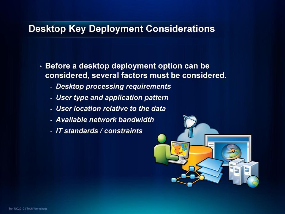- Desktop processing requirements - User type and application pattern -