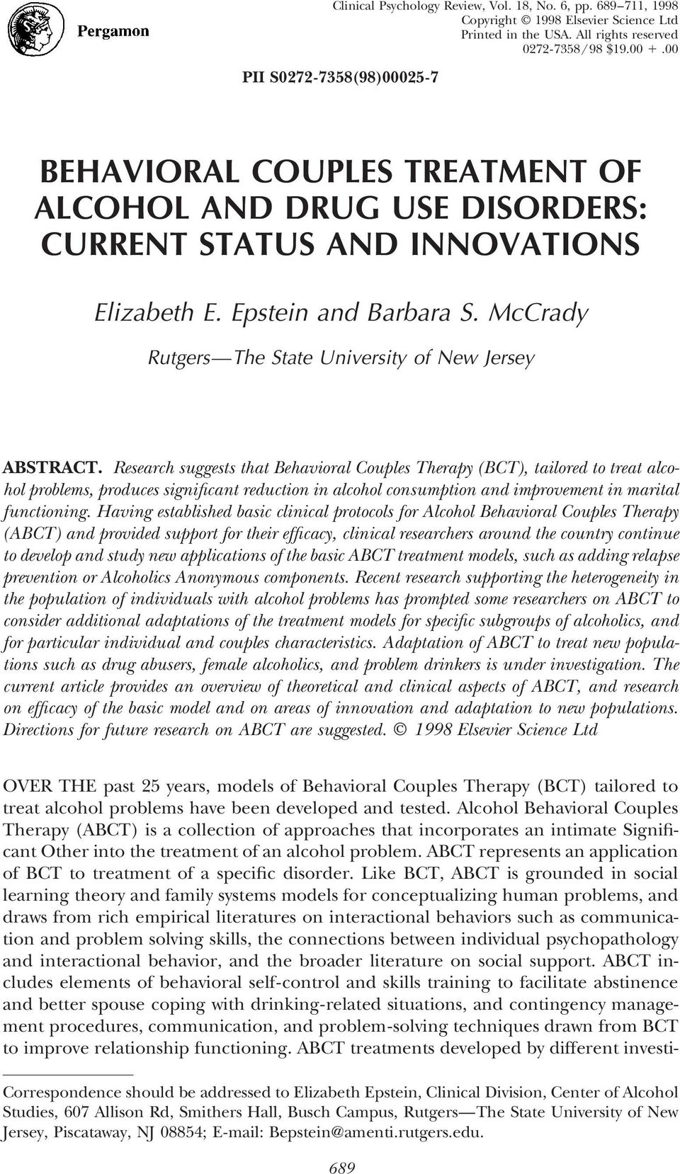 McCrady Rutgers The State University of New Jersey ABSTRACT.