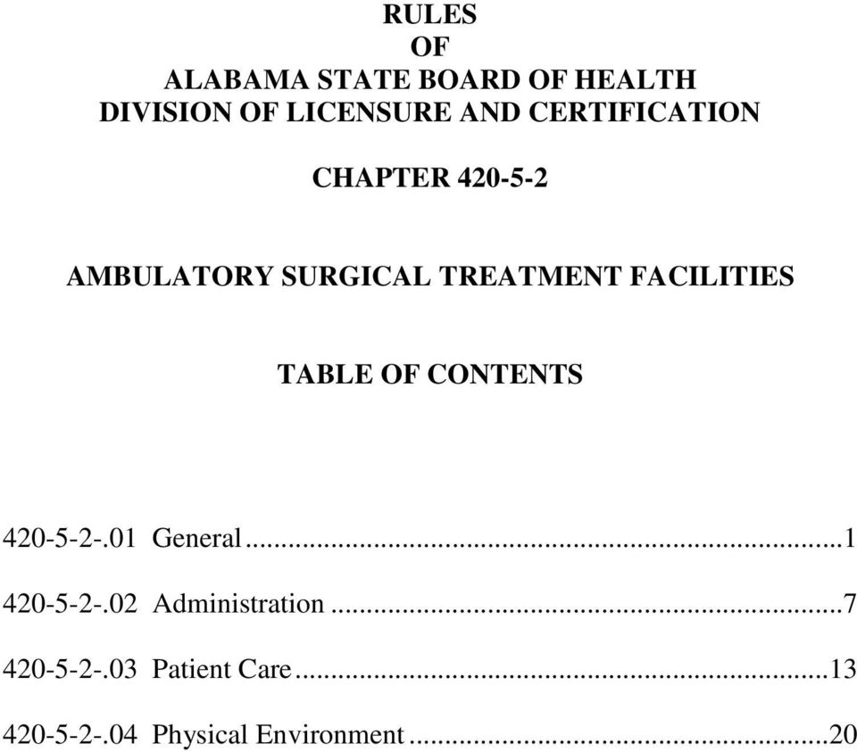 FACILITIES TABLE OF CONTENTS 420-5-2-.01 General...1 420-5-2-.