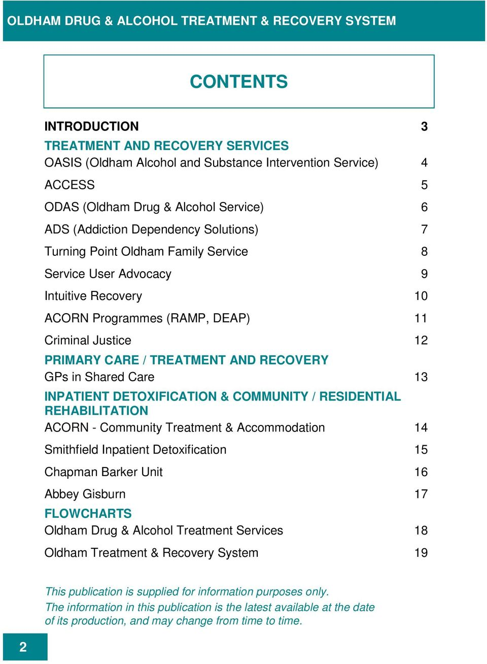 PRIMARY CARE / TREATMENT AND RECOVERY GPs in Shared Care 13 INPATIENT DETOXIFICATION & COMMUNITY / RESIDENTIAL REHABILITATION ACORN - Community Treatment & Accommodation 14 Smithfield Inpatient