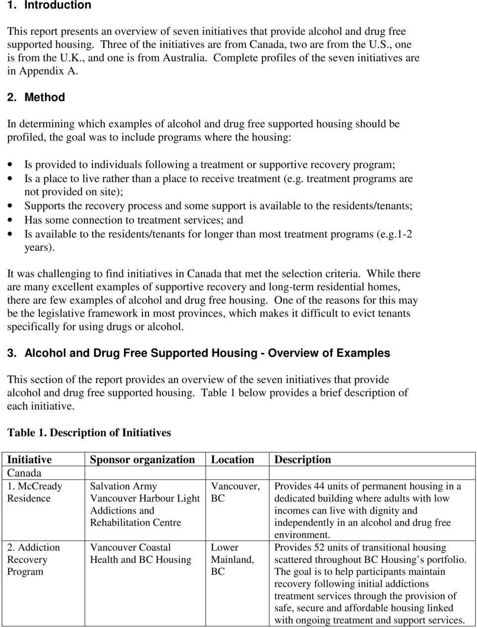 Method In determining which examples of alcohol and drug free supported housing should be profiled, the goal was to include programs where the housing: Is provided to individuals following a