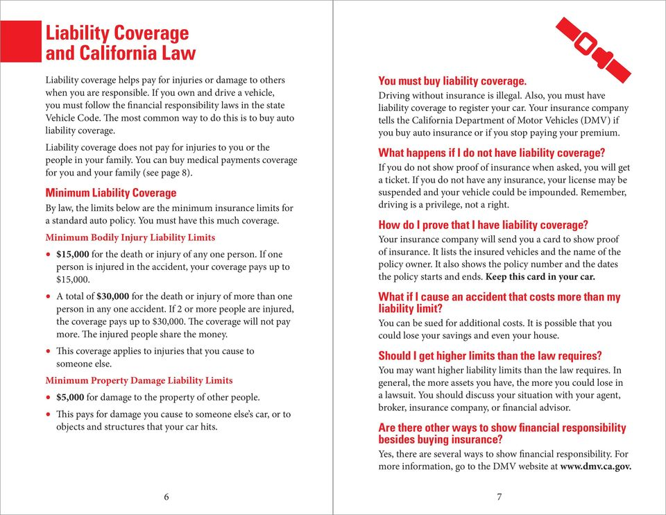 Liability coverage does not pay for injuries to you or the people in your family. You can buy medical payments coverage for you and your family (see page 8).