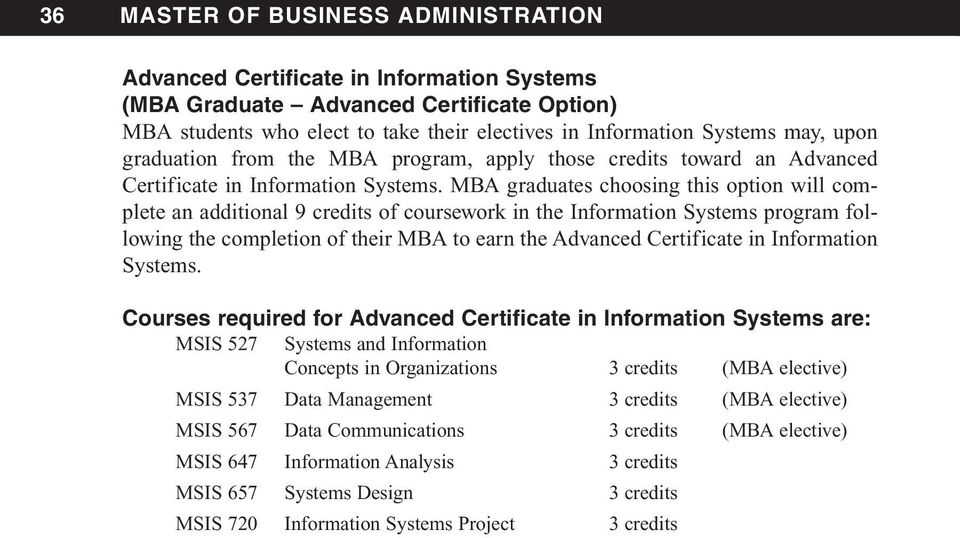 MBA graduates choosing this option will complete an additional 9 credits of coursework in the Information Systems program following the completion of their MBA to earn the Advanced Certificate in