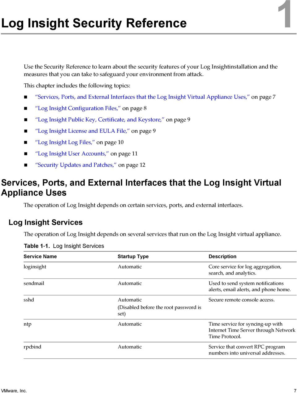 This chapter includes the following topics: Services, Ports, and External Interfaces that the Log Insight Virtual Appliance Uses, on page 7 Log Insight Configuration Files, on page 8 Log Insight