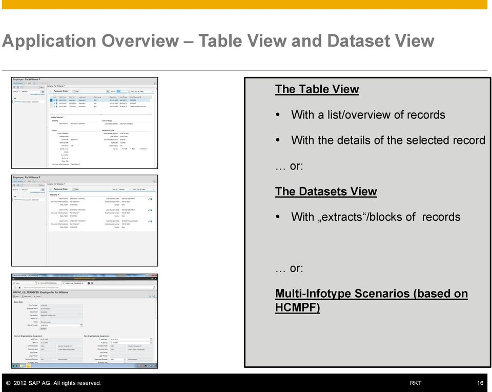 the selected record or: The Datasets View With extracts